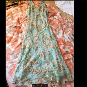 100% SILK ICE blue maxi dress